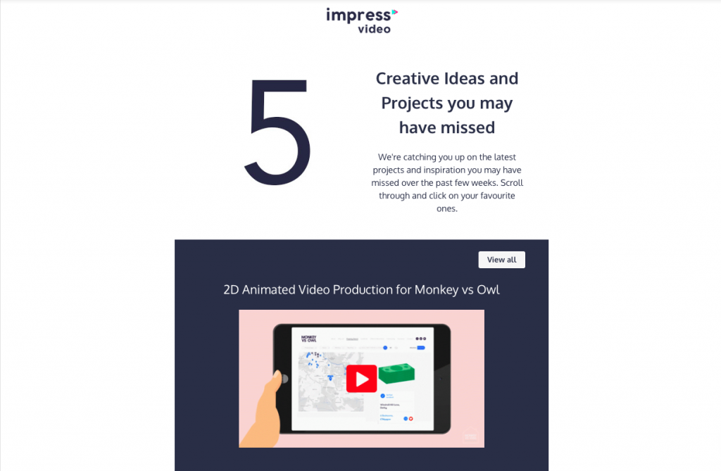Product videos embedded in emails